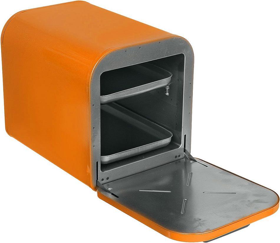 Минипечь Кедр оранжевый с открытой дверцей